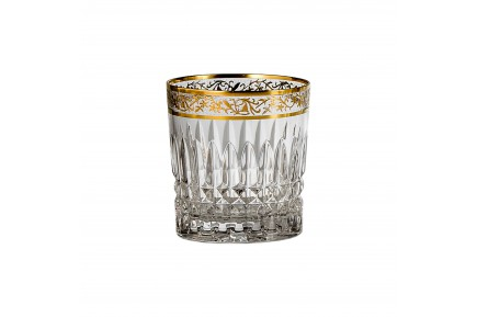 Set of 6 Viktoria 24k gold crystal champagne flutes made in France by Cristallerie de Montbronn