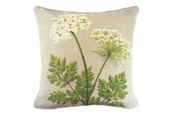 Two White umbels Luxury French Tapestry Pillow made in France