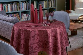 Topkapi Burgundy French luxury Tablecloth made in France by Beauville