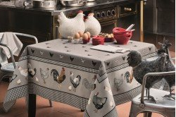 Picoti Chickens Coated Tablecloth Country French by Beauville