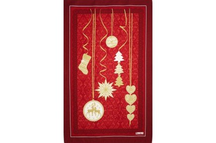 Winter Joy Christmas Holiday Tea towel French kitchen linens by Beauville